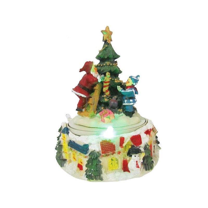 Сувенир музыкальный Праздничная елка с подсветкой 12*17см