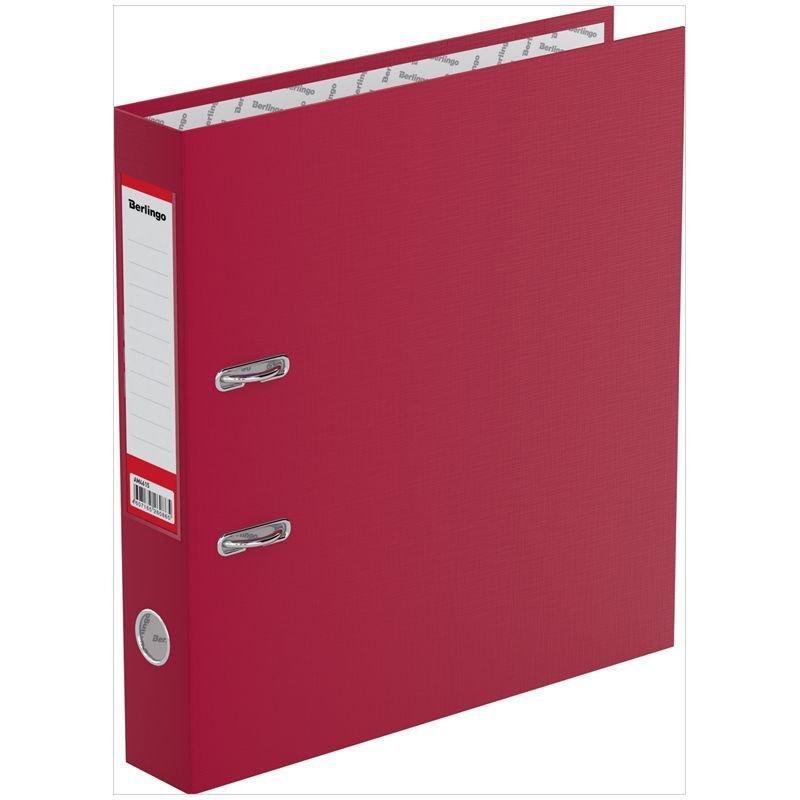 Папка-регистратор 50мм Berlingo Standard бумвинил карман бордовая