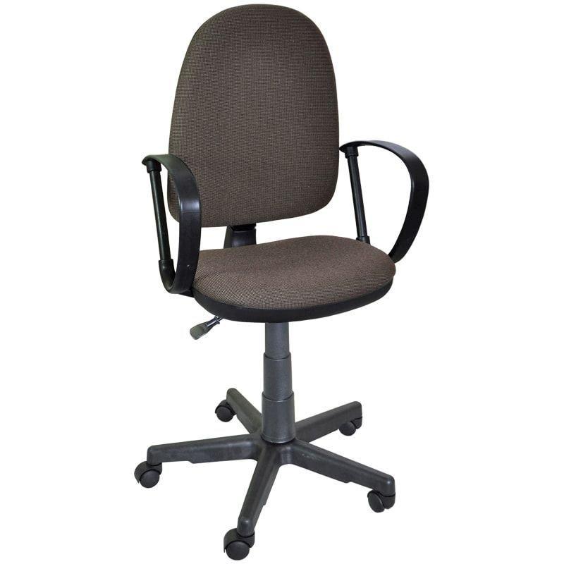Кресло для оператора Престиж с подлокотниками ткань коричневое