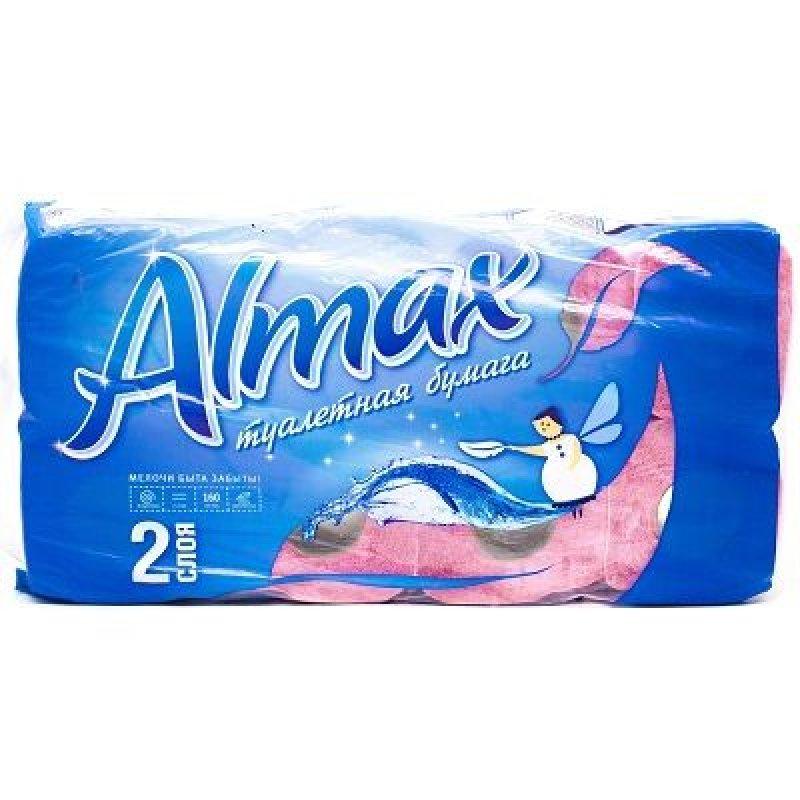 Бумага туалетная Almax Agua 2-сл 8 шт/уп розовая