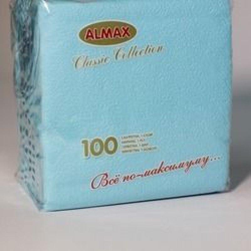 Салфетки 100л Almax Classic 24х24см 1сл голубые