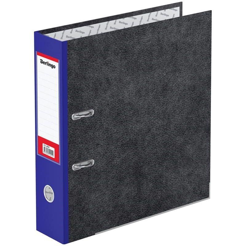 Папка-регистратор 80мм мрамор уголок синий корешок