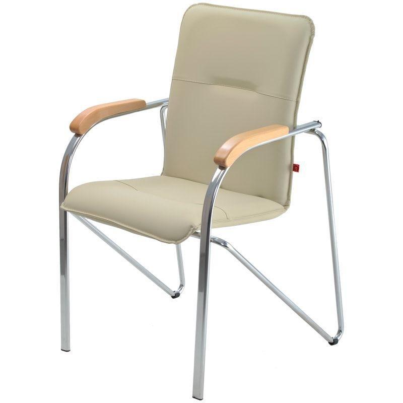 Кресло для приемных и переговорных Samba с подлокотниками хром каркас кожзам бежевый