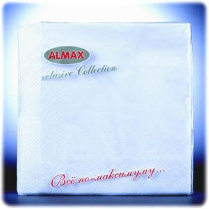 Салфетки 20л Almax Color Collection 33х33см 3сл белые