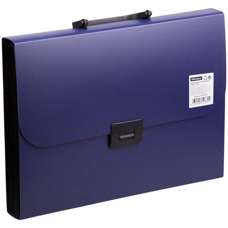 Портфель пластиковый 13-отд OfficeSpace А4 330*235*40мм 700мкм синий