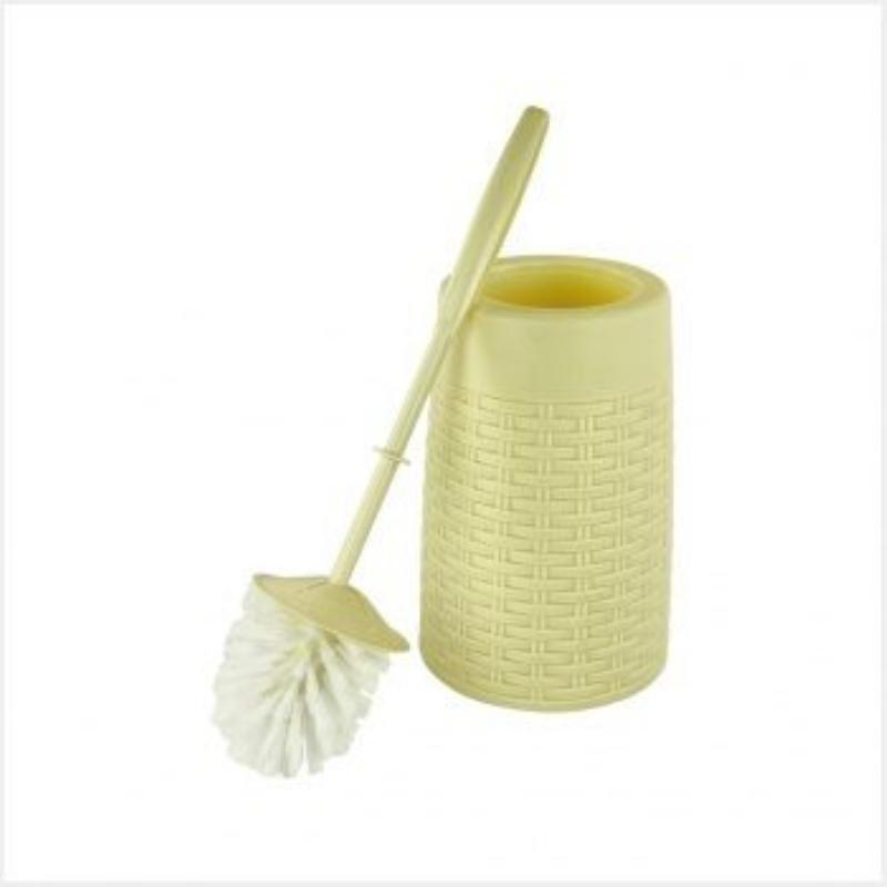 Ерш для унитаза пластик с подставкой Плетенка белый/слоновая кость