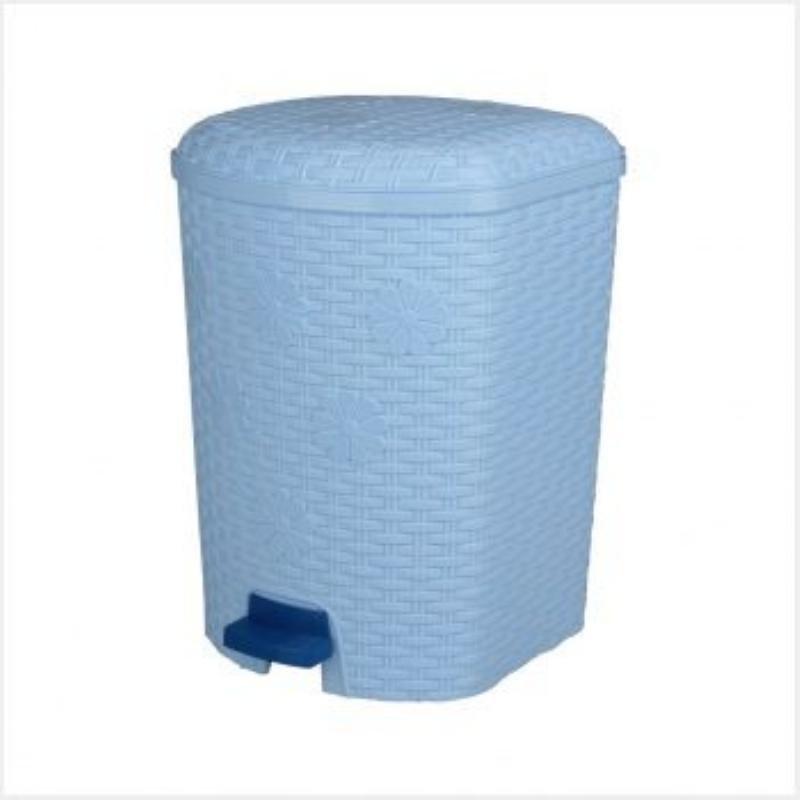 Контейнер для мусора 12л пластик Плетенка педаль голубой
