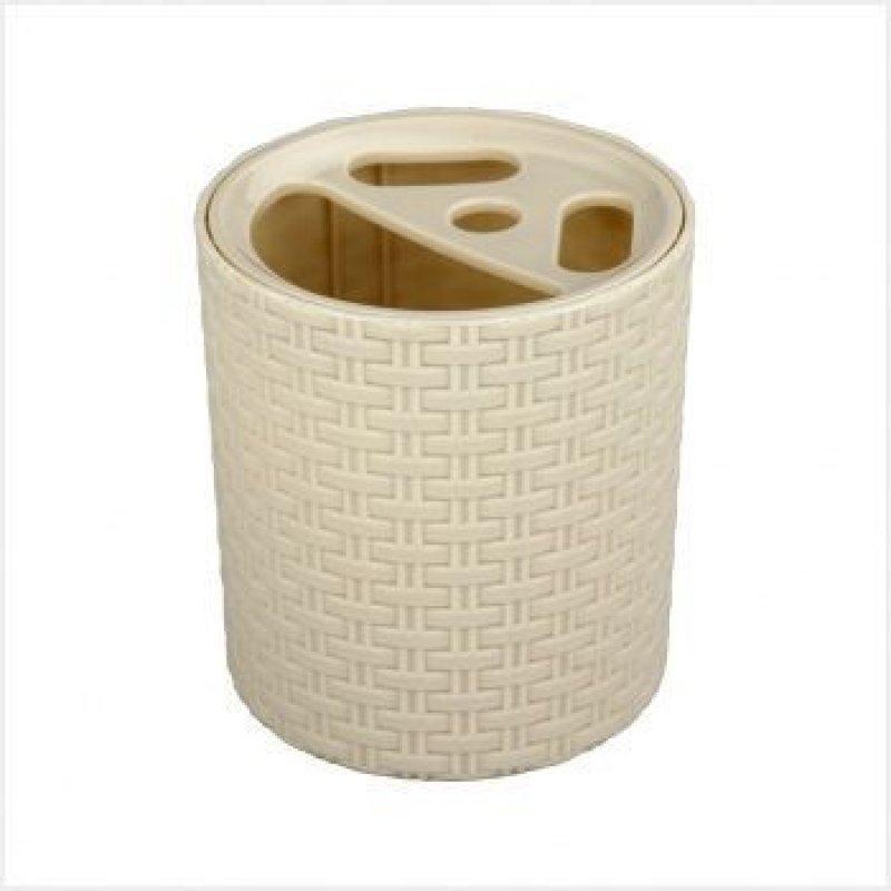 Подставка для зубных щеток Плетенка слоновая кость