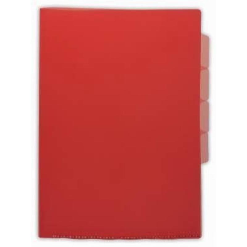 Папка-угол (карман) Бюрократ 0,15мм 3 отделения прозрачная красная