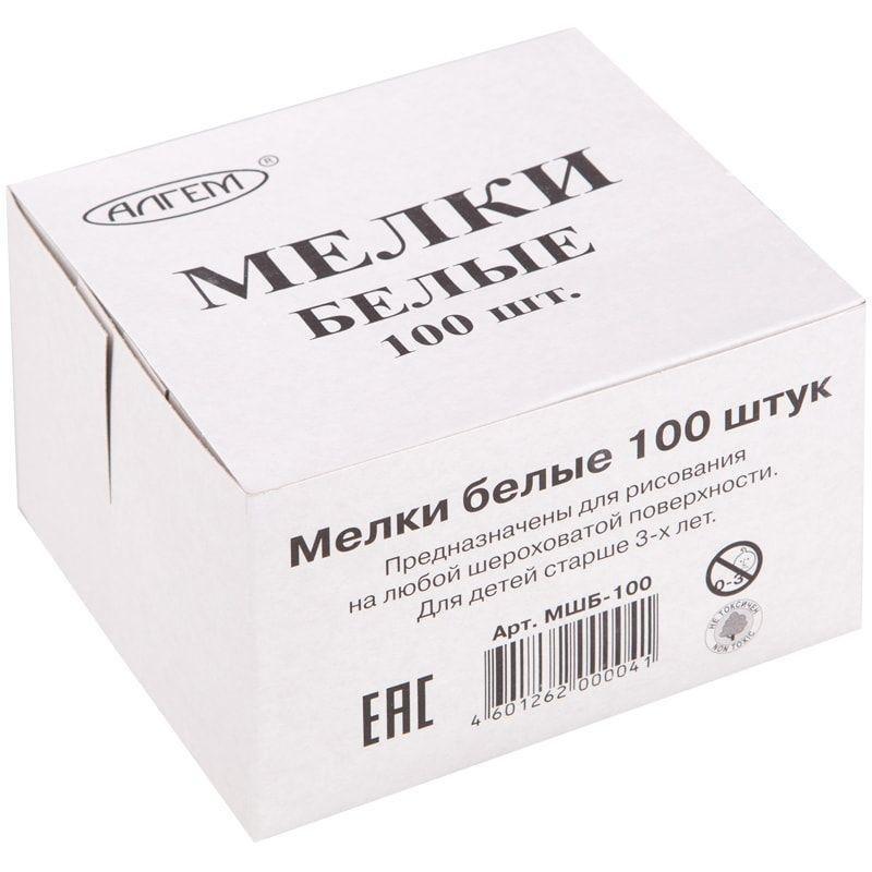 Мел белый 100шт Алгем карт/уп