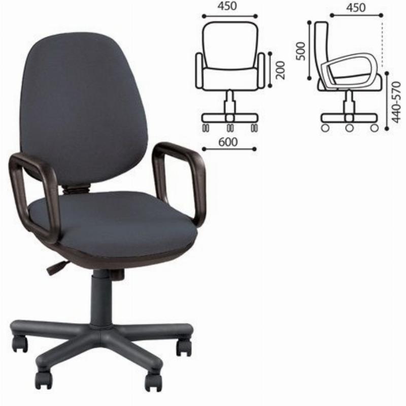 Кресло для оператора Nowy Styl Comfort GTP с подлокотниками ткань черно-серое