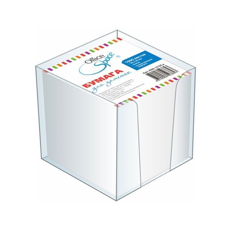 Блок для записей 90х90х90мм Office Space белый в прозрачном пластбоксе