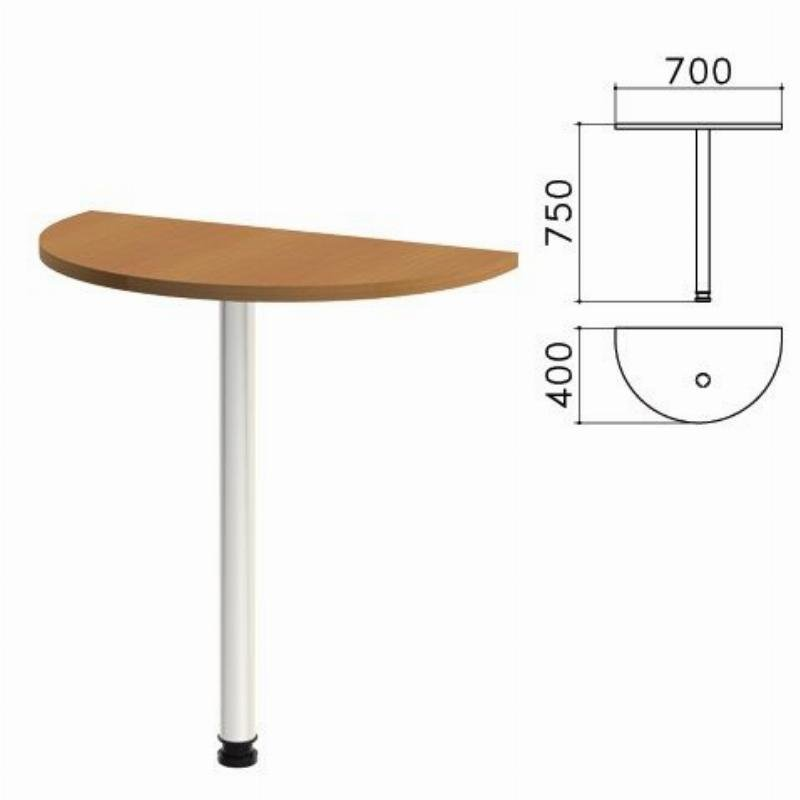 Стол приставной полукруг Монолит 700х400х750мм орех