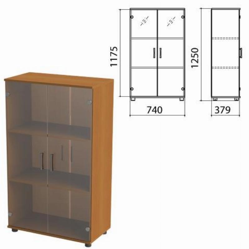 Шкаф закрытый Монолит 740х390х1250мм со стеклом комплект орех