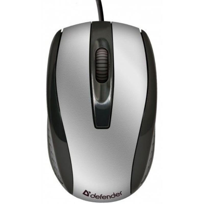 Мышь Defender Optimum MM-140 USB 2кнопки+1колесо-кнопка оптическая проводная черная/серебряная