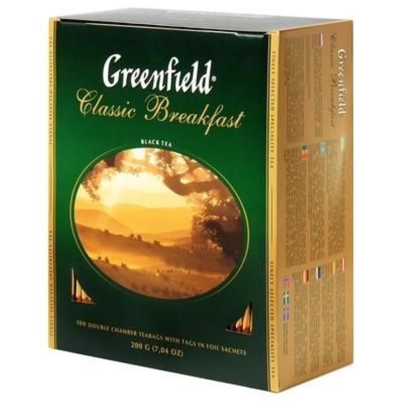 Чай Greenfield Classic Breakfast 100шт в пакетиках черный