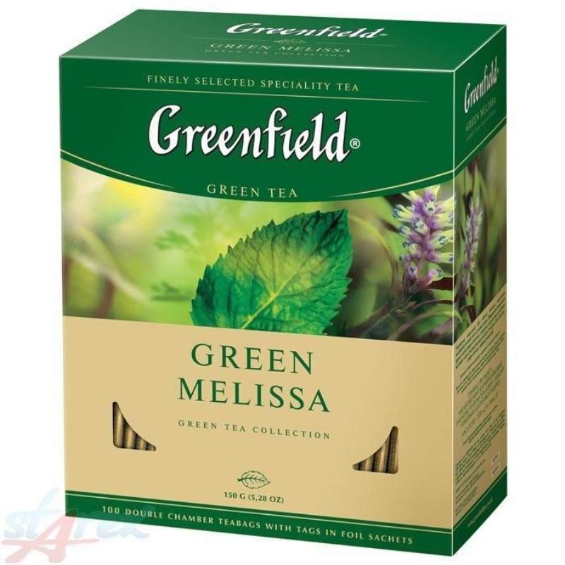 Чай Greenfield Melissa 100шт в пакетиках зеленый с мятой