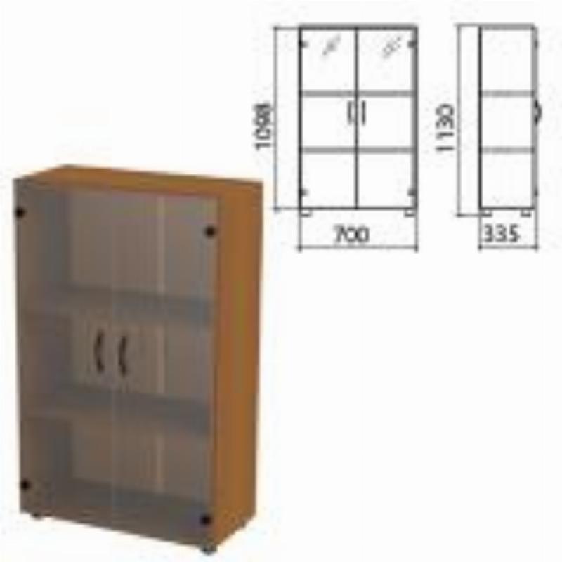 Шкаф закрытый Канц 700х350х1130мм со стеклом комплект орех