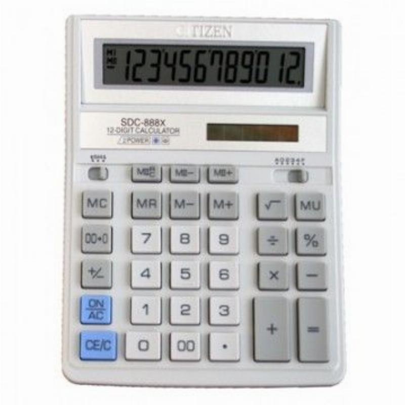 Калькулятор Citizen SDC-888ХWH 205х159мм 12 разр белый