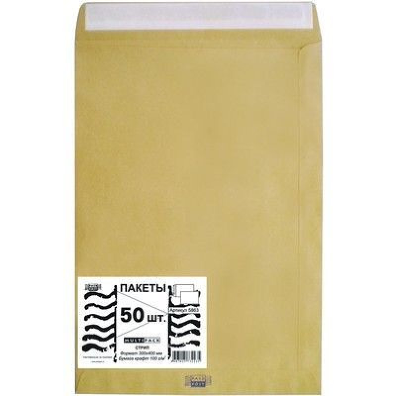 Конверт-пакет E4 плоский (300х400мм) крафт с отрывной полосой Multipack