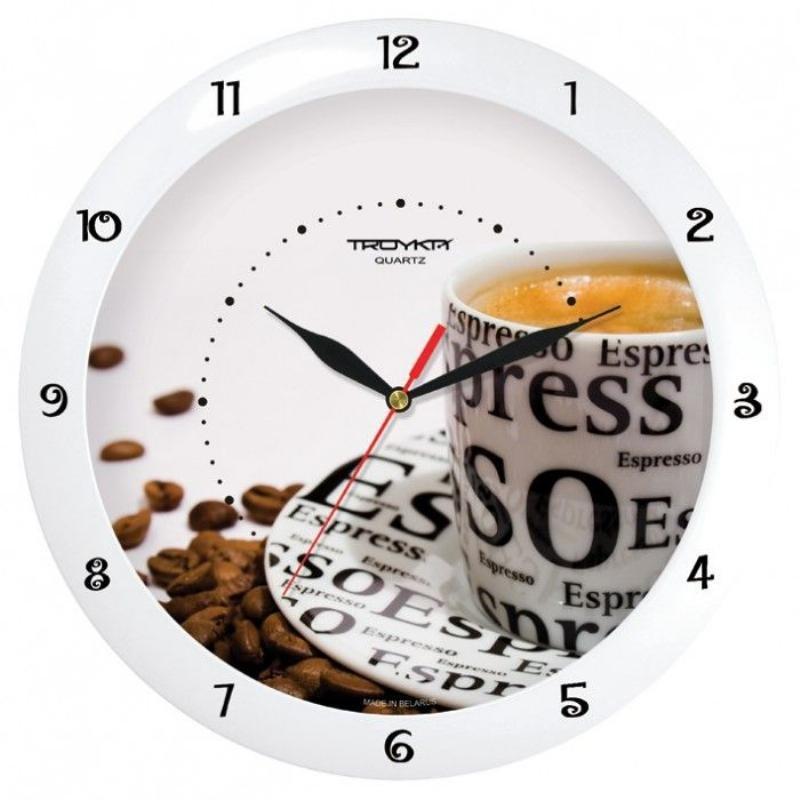 Часы настенные В-Тройка 11110143 круг белые кофе 290мм
