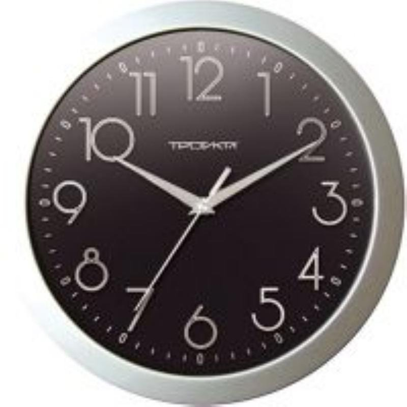 Часы настенные В-Тройка 11170182 круг черные 290мм