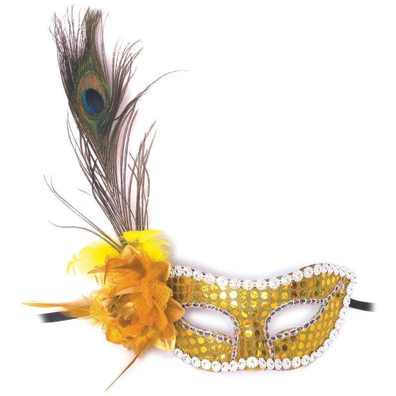 Маска Золотая мечта с цветком и перьями