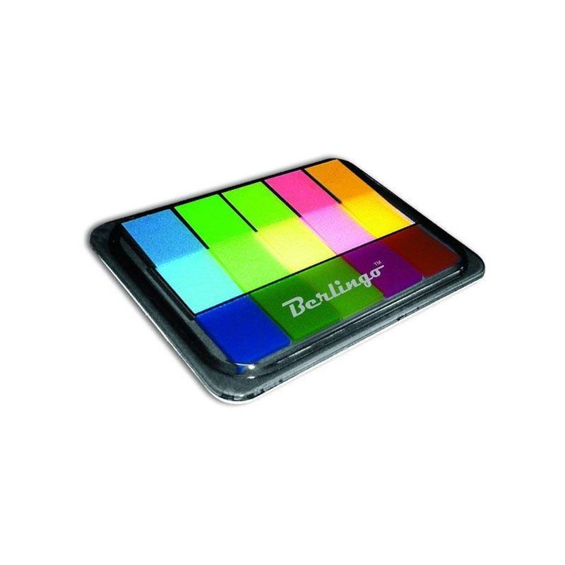 Закладки самоклеящиеся 45х12мм Berlingo Неон пластиковые 5цветов по 20л в диспенсере