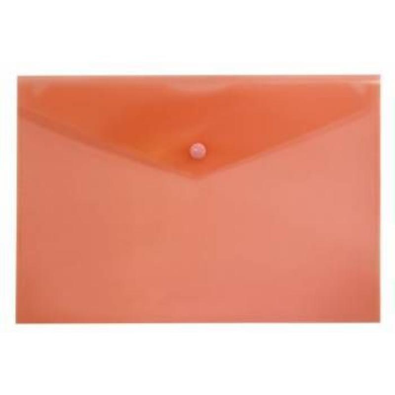 Папка-конверт с кнопкой А5 Бюрократ 0,18мм красная
