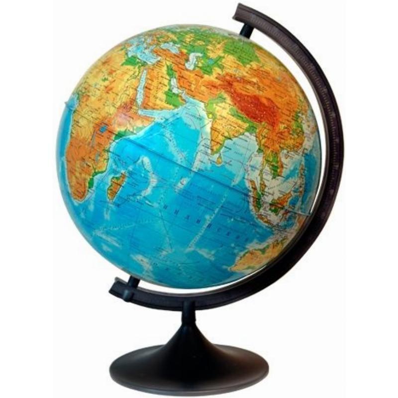 Глобус с физической картой D=25см рельеф с подсветкой