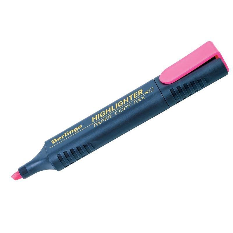 Текстмаркер Berlingo 1-5мм скошенный наконечник розовый