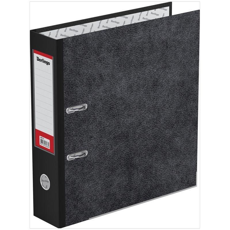 Папка-регистратор 70мм Berlingo Standard мрамор уголок карман черная
