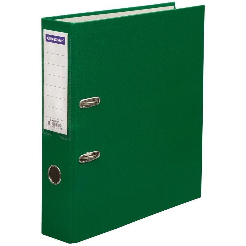Папка-регистратор 70мм OfficeSpace бумвинил карман зеленая
