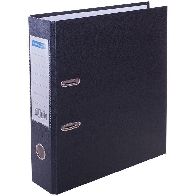 Папка-регистратор 70мм OfficeSpace бумвинил карман черная
