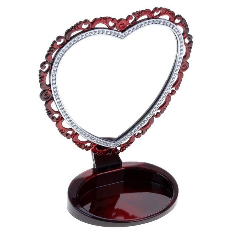 Зеркало на ножке Ажур 16,5 × 20см форма сердца бордовое