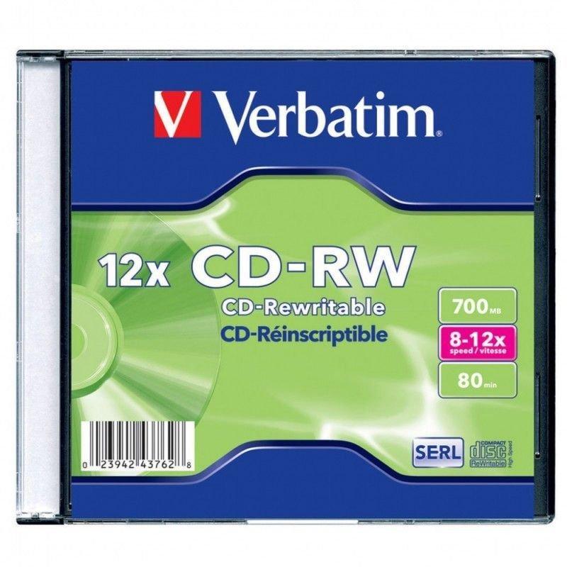 Диск CD-RW Verbatim 700Mb 8-12x Slim