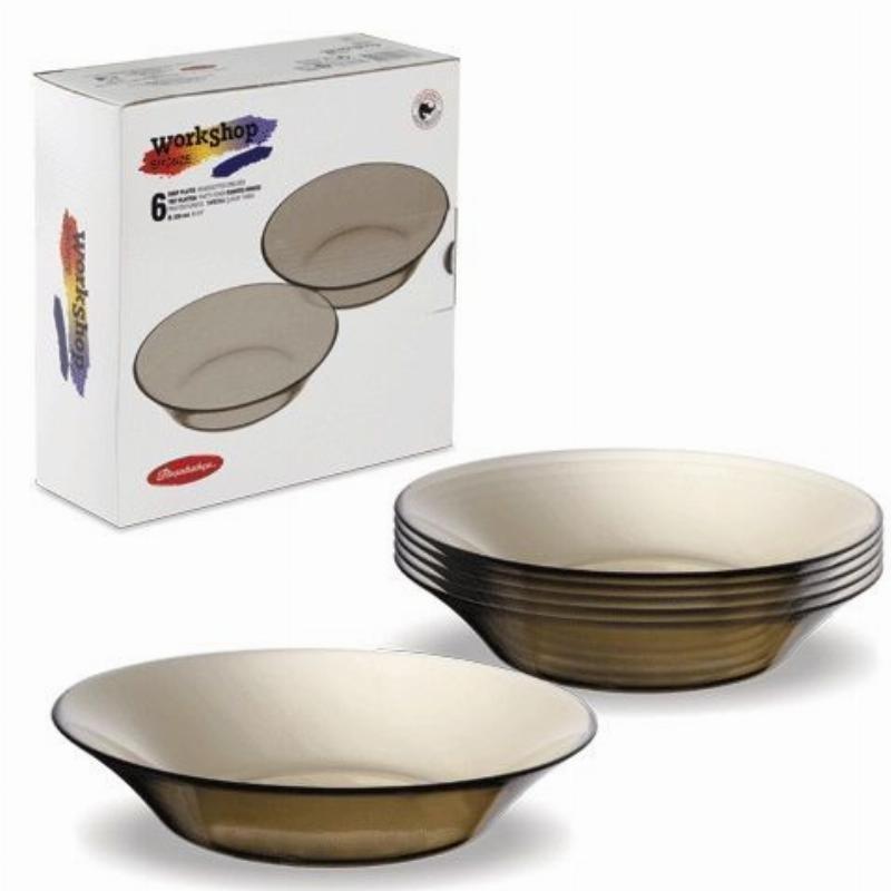 Набор тарелок 220мм Bronze глубокие 6пр Pasabahce стекло