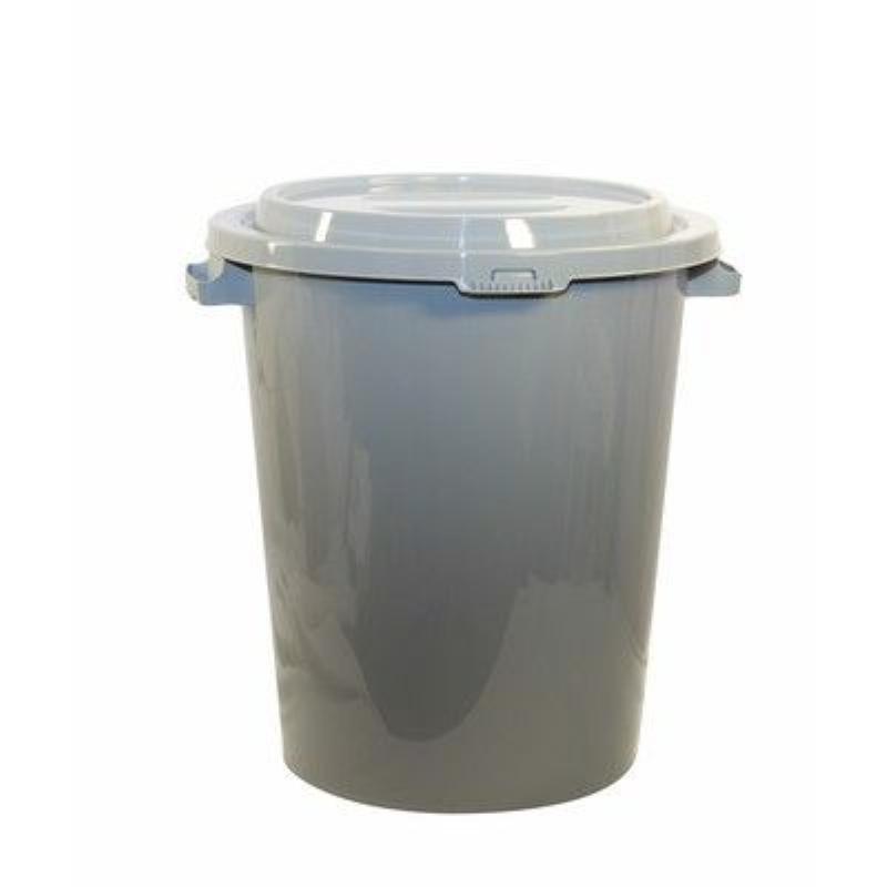Бак 90л для мусора пластик серый