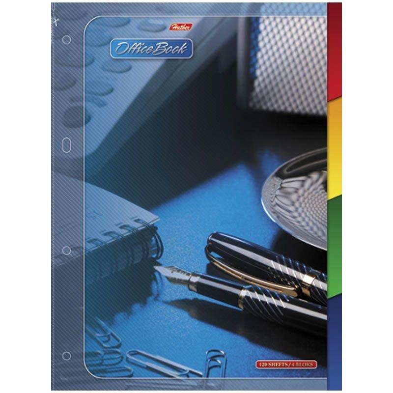Тетрадь 120л А4 Office Book клетка гребень твердый переплет с разделителями