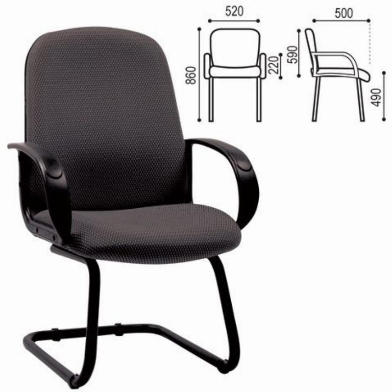 Кресло для приемных и переговорных Chairman СН-279-V с подлокотниками ткань черное