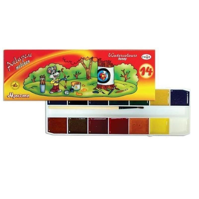 Краски акварельные 14цв Мультики с кист картон/уп