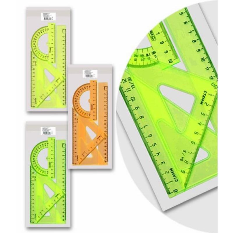 Набор чертежный средний Стамм  треуг-2шт, лин-20см, транспортир неон ассорти