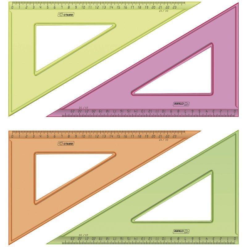 Треугольник 23см 30град Стамм тонированный прозрачный флуоресцентный ассорти