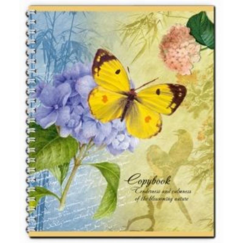 Тетрадь 48л Бабочка на цветке клетка гребень