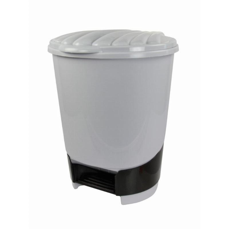 Контейнер для мусора 10л пластик педаль серый