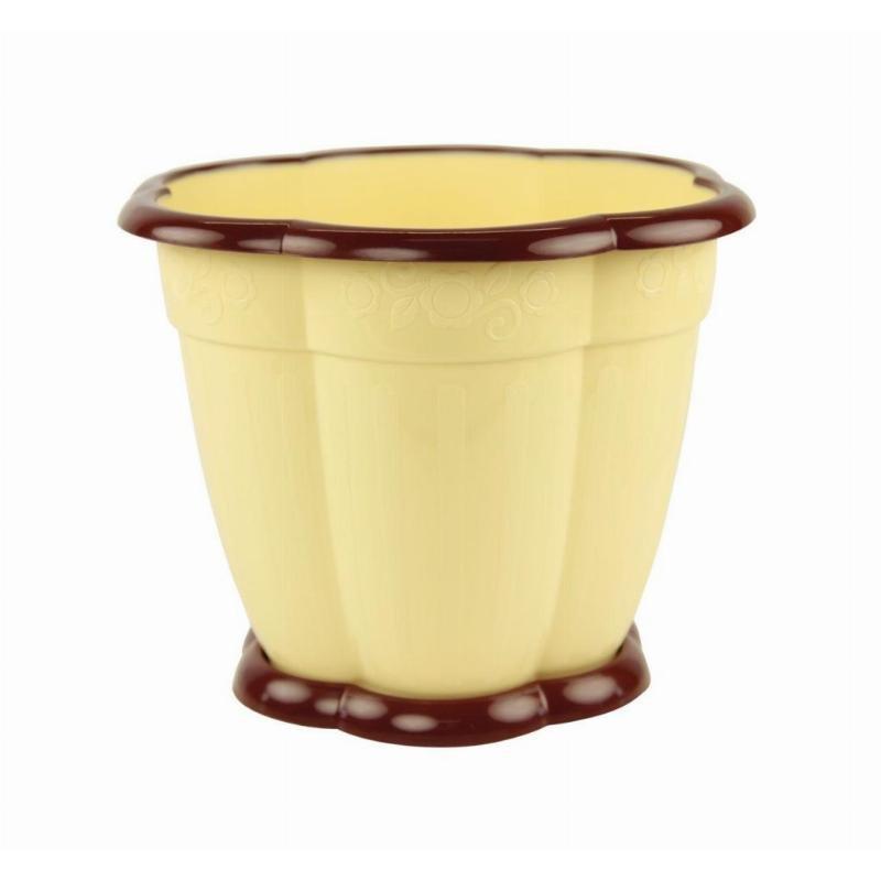 Горшок Восторг 1,5л с поддоном желтый