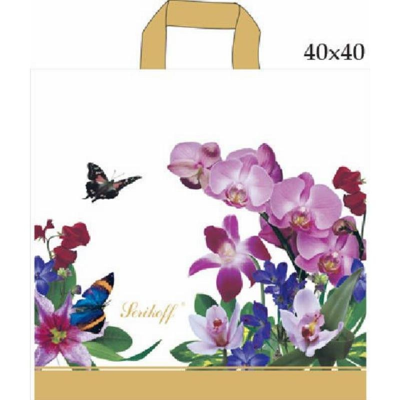 Пакет птл ручка 39х40см 95мкм Serikoff  Букет/Орхидея белый