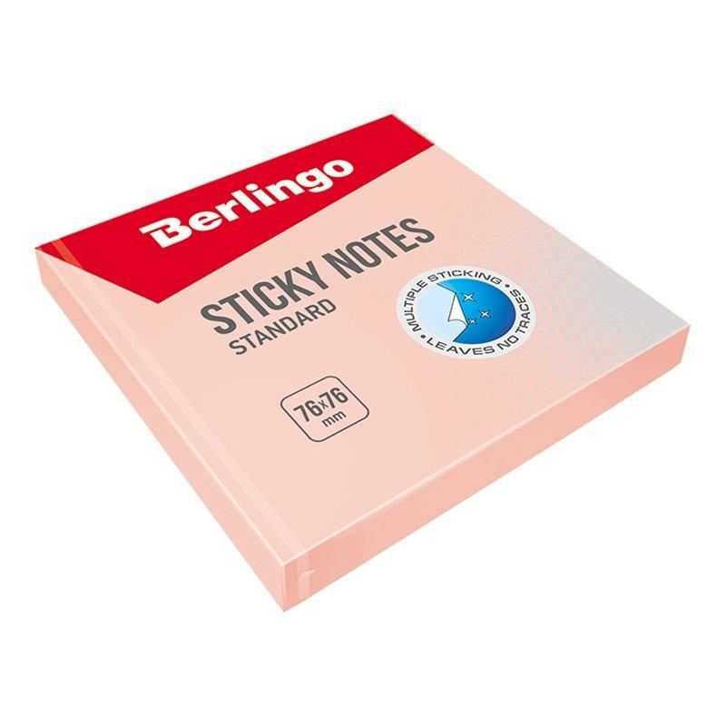 Блок для записей самоклеящийся 76х76мм Berlingo 100л пастель розовый