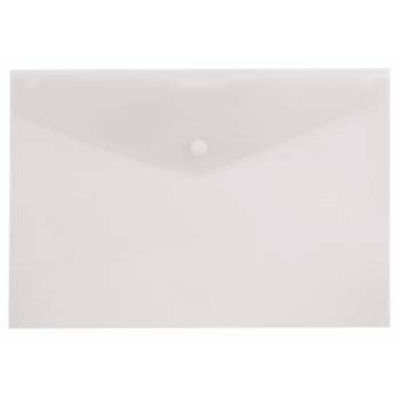Папка-конверт с кнопкой А4 Бюрократ 0,10мм прозрачная