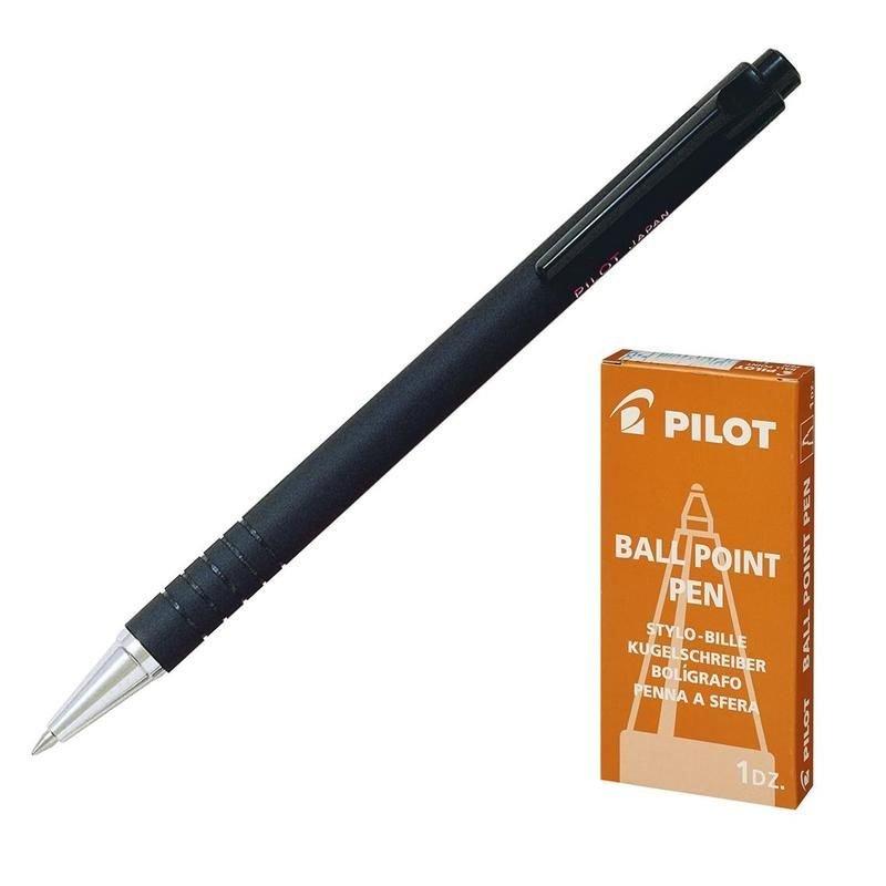 Ручка шариковая автомат Pilot 0,7мм тонированный корпус маслянная черная, BPRK-10M